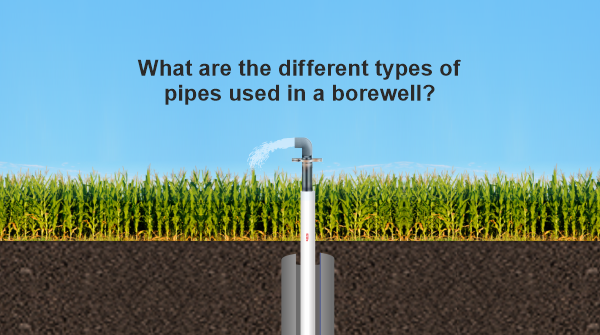 What type of pipes are used in a borewell?